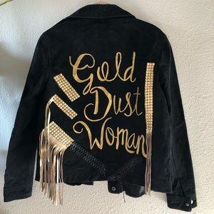 Gold Dust Woman Metallic fringe leather jacket